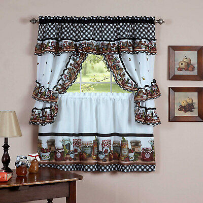 Mason Jars Tier & Swag Kitchen Curtain Cottage Set, 57X36 Inside Cottage Ivy Curtain Tiers (#40 of 49)
