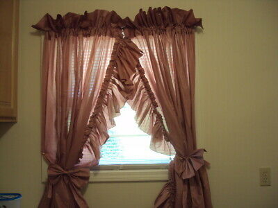 """Mauve Priscilla Ruffle Edge Bow Tie Back Curtain 120"""" Wide 65"""" Long (7""""  Ruffle)   Ebay Intended For Elegant White Priscilla Lace Kitchen Curtain Pieces (View 22 of 30)"""