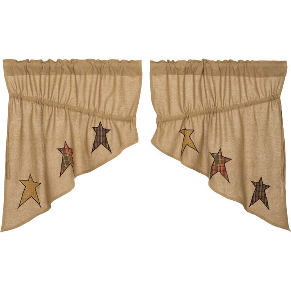 Mclaren Burlap Applique Star Prairie Kitchen Curtains With Rod Pocket Cotton Striped Lace Cotton Burlap Kitchen Curtains (View 15 of 30)