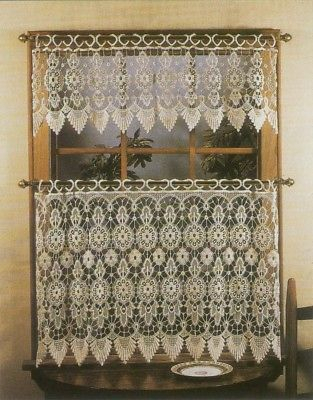 "Medallion Macrame Tier & Valance Set, 24"" And 50 Similar Items Regarding Abby Embroidered 5 Piece Curtain Tier And Swag Sets (View 22 of 30)"