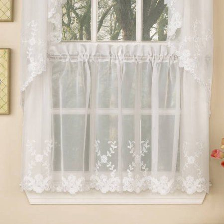 Micro Check Semi Sheer Kitchen Window Curtain 24 Inch, 36 For Floral Embroidered Sheer Kitchen Curtain Tiers, Swags And Valances (View 33 of 50)