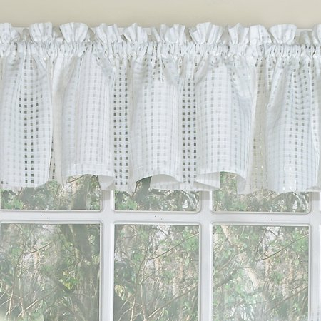 Micro Check Semi Sheer Kitchen Window Curtain 24 Inch, 36 For Sheer Lace Elongated Kitchen Curtain Tier Pairs (#17 of 30)