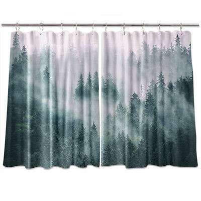 """Misty Fir Forest Kitchen Curtains 2 Panel Set Decor Window Drapes 55 X 39""""    Ebay With Regard To Forest Valance And Tier Pair Curtains (View 20 of 30)"""