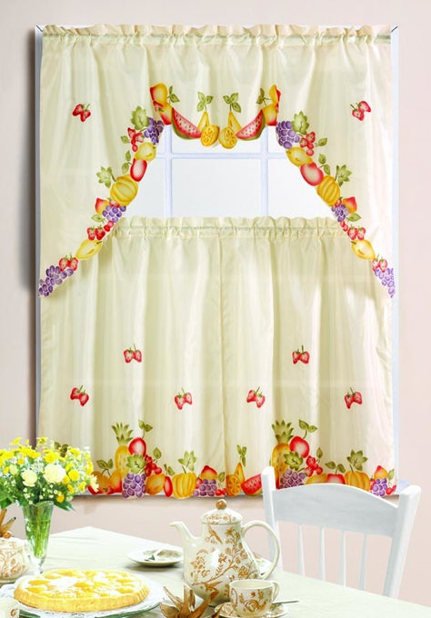 Mixed Fruit Printed Kitchen Curtain Set   Kitchen Curtains In Floral Watercolor Semi Sheer Rod Pocket Kitchen Curtain Valance And Tiers Sets (View 24 of 50)