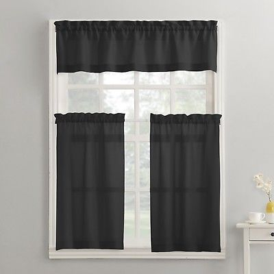 Modern Classic Black 3 Piece Kitchen Curtains Set Valance & Tiers Cafe Curtains 766894623359 | Ebay Pertaining To Red Delicious Apple 3 Piece Curtain Tiers (View 12 of 50)