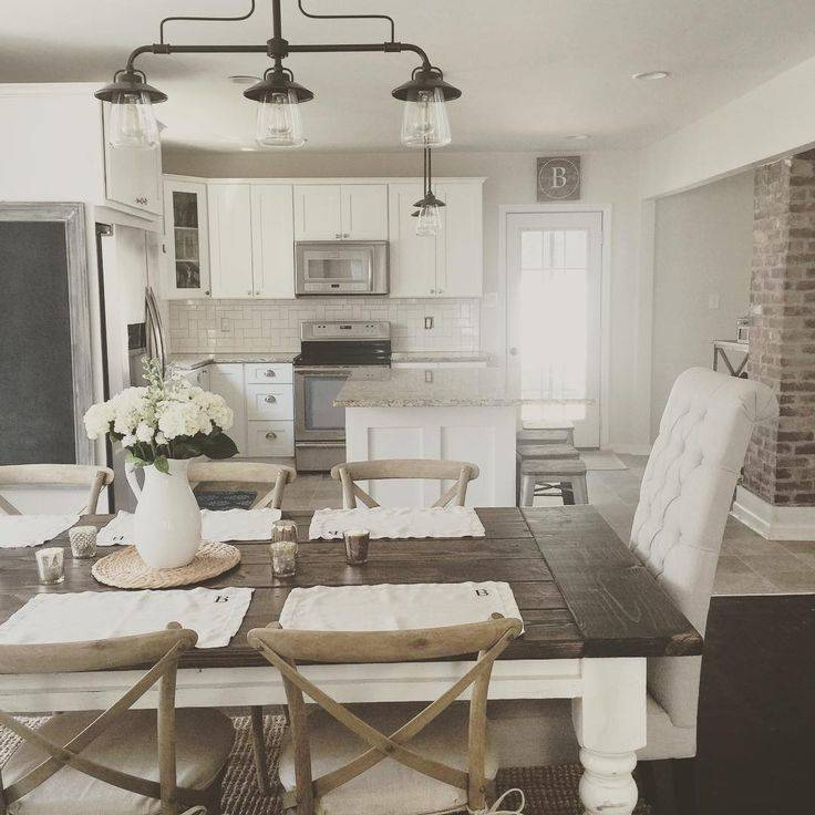 Modern Farmhouse Dining Room Table Set Round And Chairs In Most Recent Modern Farmhouse Extending Dining Tables (#16 of 30)