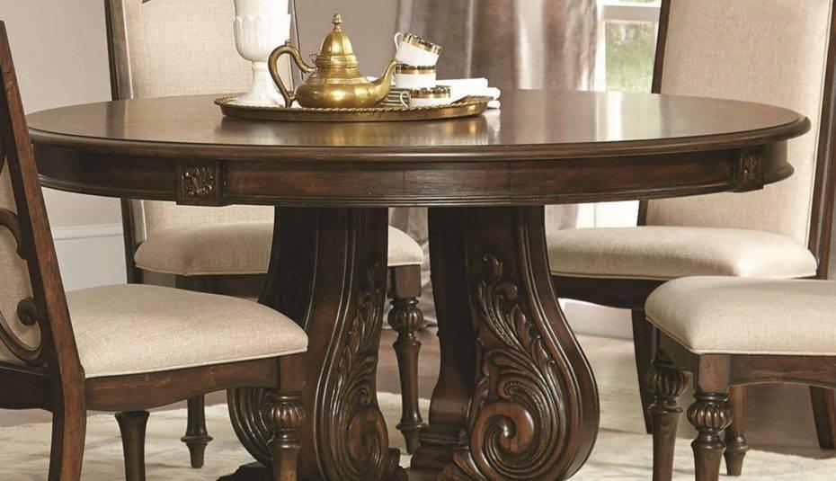 Modern Farmhouse Round Dining Table Set Designs Wood Regarding Most Popular Modern Farmhouse Extending Dining Tables (#22 of 30)