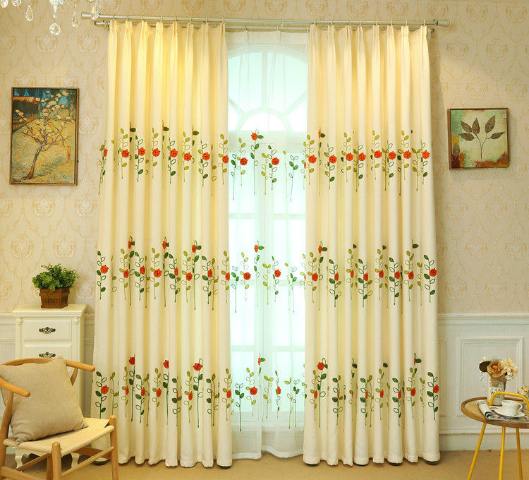 Modern Simple Sheer Curtain Embroidery Curtain Ladybug Grass Pattern Curtain In Embroidered Ladybugs Window Curtain Pieces (View 26 of 50)