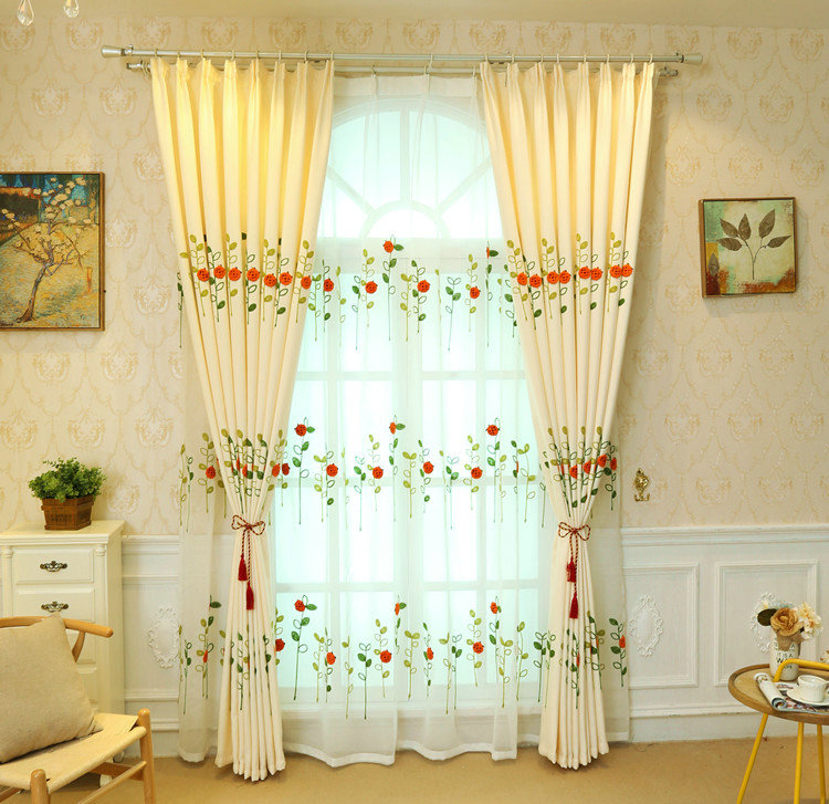 Modern Simple Sheer Curtain Embroidery Curtain Ladybug Grass Pattern Curtain Regarding Embroidered Ladybugs Window Curtain Pieces (View 27 of 50)