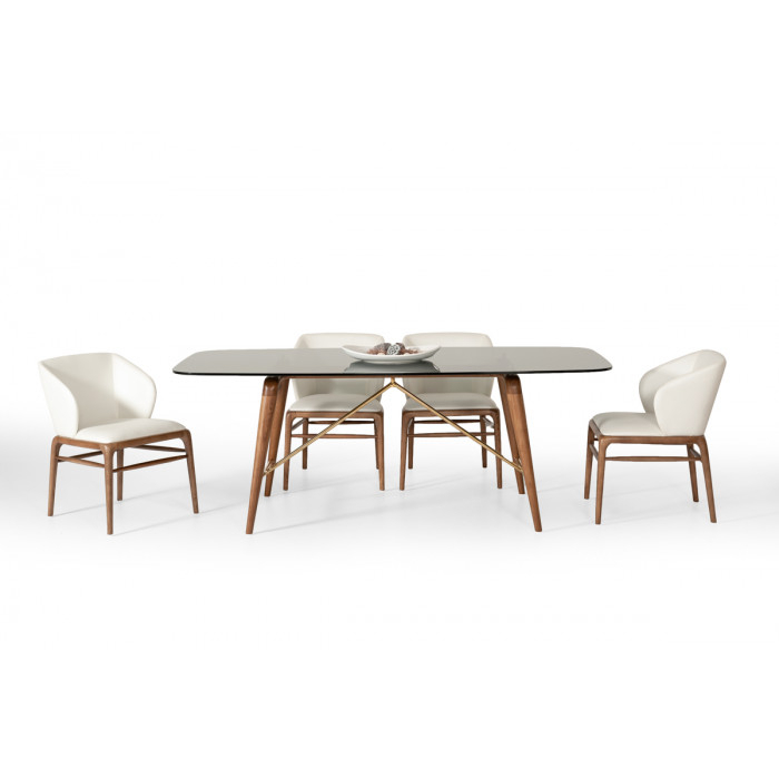 Modrest Kipling Modern Walnut Dining Set Pertaining To Most Recently Released Kipling Rectangular Dining Tables (#12 of 20)