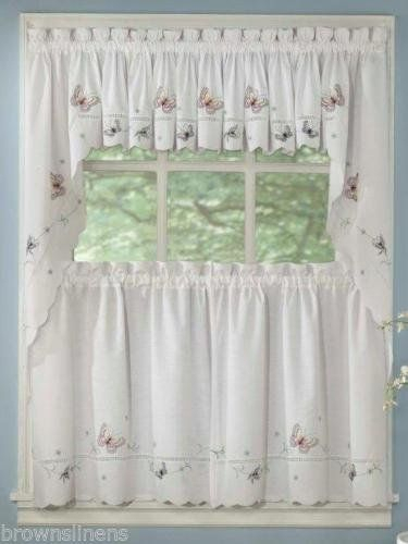Monarch Embroidered Butterfly 36 Long Curtain And Swag Top Intended For Fluttering Butterfly White Embroidered Tier, Swag, Or Valance Kitchen Curtains (View 28 of 50)