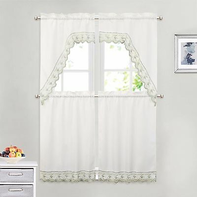 Monarch Embroidered Butterfly White Kitchen Curtains – Tiers Throughout Fluttering Butterfly White Embroidered Tier, Swag, Or Valance Kitchen Curtains (View 29 of 50)
