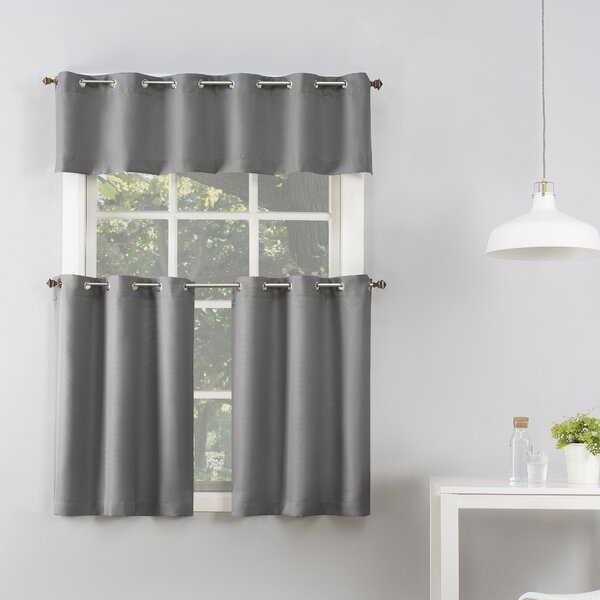 Montego Grommet Tier Curtains | Wayfair With Regard To Modern Subtle Texture Solid White Kitchen Curtain Parts With Grommets Tier And Valance Options (View 19 of 50)