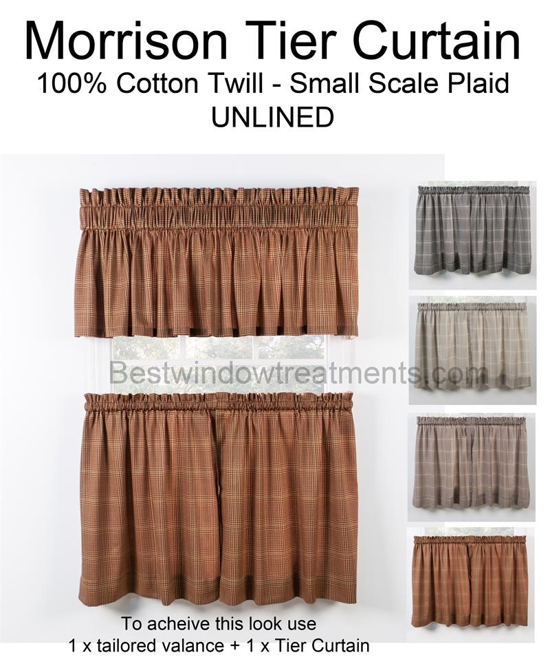 Morrison Plaid Tier Curtains | Bestwindowtreatments Intended For Tailored Valance And Tier Curtains (#24 of 50)