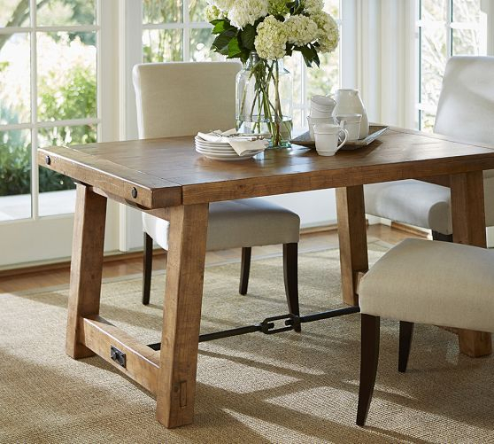 Most Current Benchwright Extending Dining Table, Alfresco Brown In Gray Wash Benchwright Pedestal Extending Dining Tables (#14 of 30)