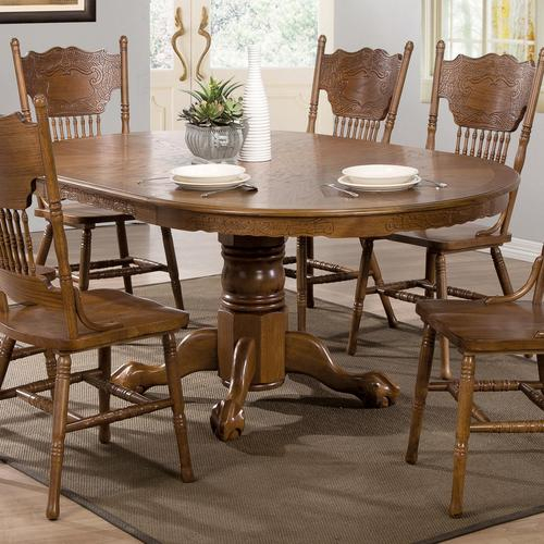 Most Current Brooks Round Dining Tables Inside Coaster Brooks Oak Finish Round/oval Dining Table With (#20 of 30)