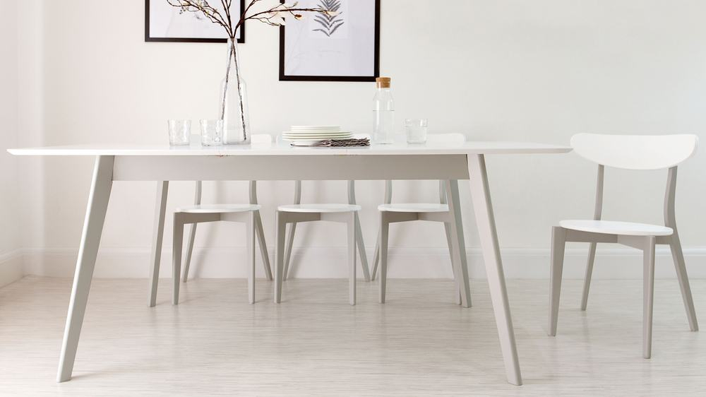 Most Popular Gray Wash Lorraine Extending Dining Tables Inside Aver Grey And White Extending Dining Table (#17 of 20)