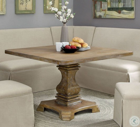 Most Popular Nerissa Antique Oak Square Dining Table Inside Rae Round Pedestal Dining Tables (#9 of 30)
