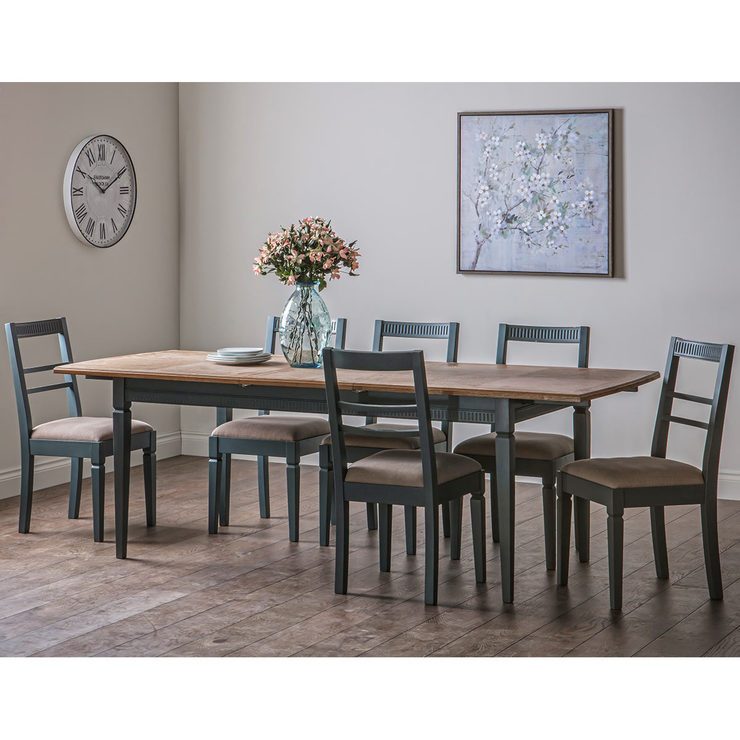 Most Recent Bronte Painted Extending Dining Room Table + 6 Chairs, Storm Blue (View 16 of 20)