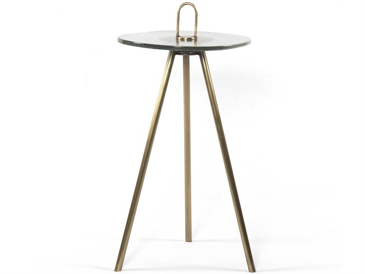 Most Recent Four Hands Nolan Antique Brass / Ribbed Glass 12'' Wide Round End Table Pertaining To Nolan Round Pedestal Dining Tables (#9 of 30)