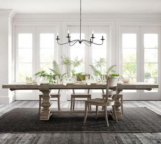 Most Recent Gray Wash Banks Pedestal Extending Dining Tables Within Banks Extending Dining Table, Gray Wash #potterybarn (#15 of 20)