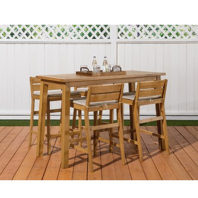 Most Recent Griffin Reclaimed Wood Bar Height Tables Intended For Breakwater Bay Glisson 5 Piece Teak Bar Height Dining Set (#17 of 30)