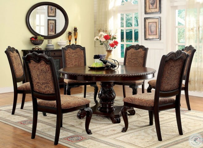Most Recent Rae Round Pedestal Dining Tables For Bellagio Brown Cherry Round Pedestal Dining Room Set (#11 of 30)