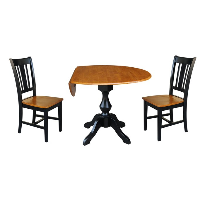 Most Recently Released Augu Round Top Pedestal Extending 3 Piece Drop Leaf Solid Wood Dining Set Intended For Rae Round Pedestal Dining Tables (#12 of 30)