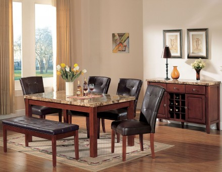 Most Recently Released Bologna Brown Marble And Brown Cherry Dining Room Set Pertaining To Montalvo Round Dining Tables (#16 of 20)