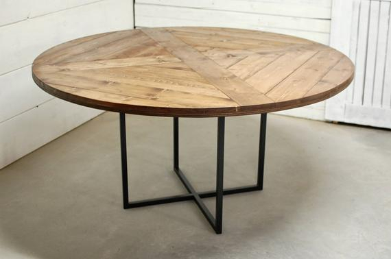Most Recently Released Chapman Round Marble Dining Tables Regarding Round Wood Industrial Dining Table, Wood Furniture, Modern Kitchen Table,  Kitchen Table, Industrial Furniture, Reclaimed Wood, Dining Table (#15 of 30)