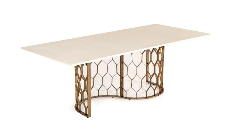 Most Recently Released Hormigón Blanco & Latón Antiguo Mesa De Comedor Vig Modrest Intended For Faye Dining Tables (#17 of 20)