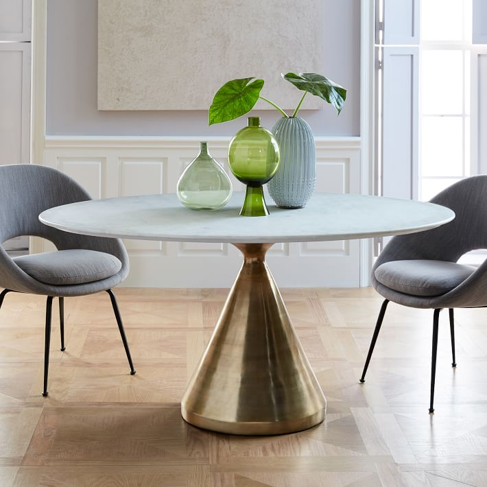 Most Recently Released Silhouette Pedestal Oval Dining Table – White Marble/antique Brass With Chapman Marble Oval Dining Tables (View 5 of 30)