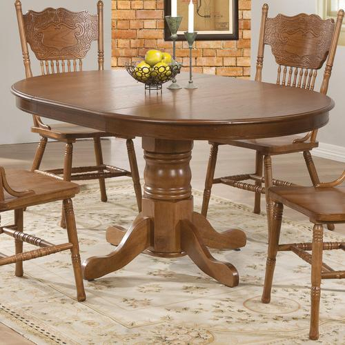 Most Up To Date Brooks Round Dining Tables Inside Coaster Brooks Oak Finish Round/oval Dining Table With (#21 of 30)