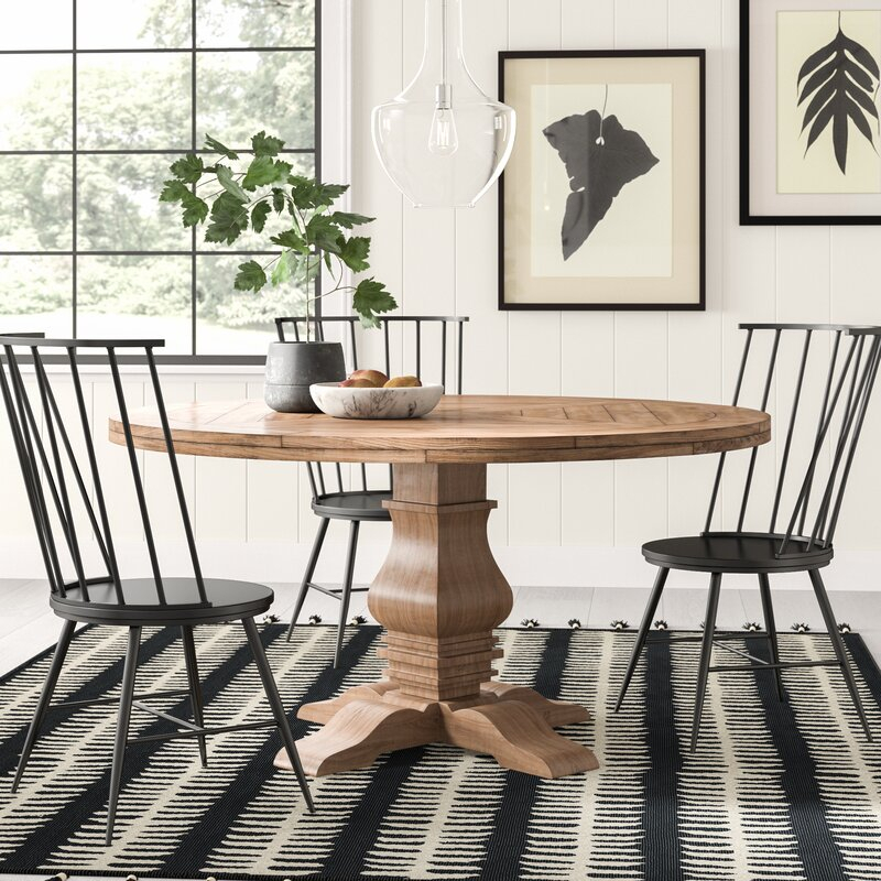 Most Up To Date Magaw Solid Wood Dining Table In Rae Round Pedestal Dining Tables (#13 of 30)