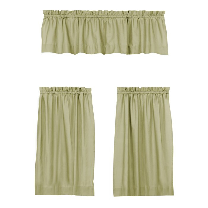 Mullan 3 Piece Solid Cotton Kitchen Curtain Set Regarding Twill 3 Piece Kitchen Curtain Tier Sets (View 20 of 42)