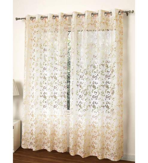 Multicolour Polycotton 55 X 84 Inch Aviary Floral Sheer Door Curtain Rosara In Aviary Window Curtains (View 24 of 30)