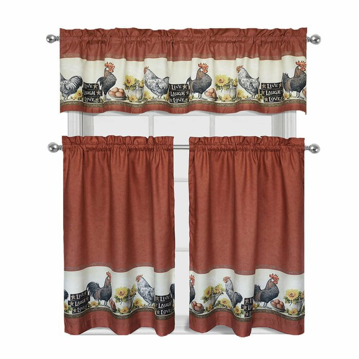 Myatt Roosters And Sunflowers 3 Piece Kitchen Curtain Set With Lodge Plaid 3 Piece Kitchen Curtain Tier And Valance Sets (#20 of 30)