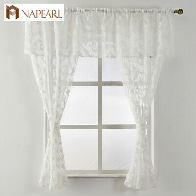 Napearl 1 Set Classic Kitchen Window Valance And Tiers Decor Voile Pelmet  Drapes | Ebay Intended For Classic Black And White Curtain Tiers (View 33 of 50)