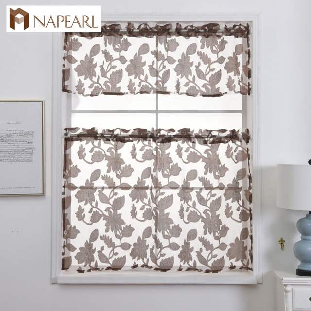Napearl Kitchen Curtains Jacquard Design Rod Pocket Short Curtain Panel  Valance And Tiers Window Treatment Modern Floral Style Throughout Luxurious Kitchen Curtains Tiers, Shade Or Valances (#30 of 50)