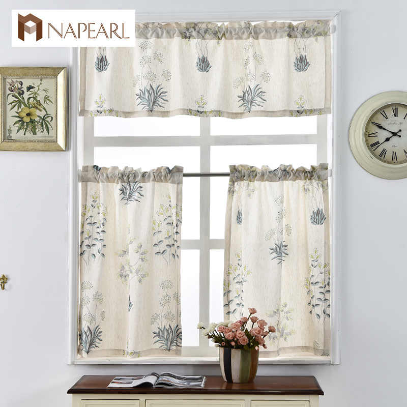 Napearl Printed Short Curtains For Kitchen Linen Fabrics Window Treatments  Modern Door Rod Pocket Ready Made Kitchen Curtains Intended For Linen Stripe Rod Pocket Sheer Kitchen Tier Sets (#30 of 46)