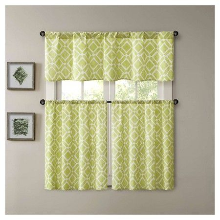 Natalie Printed Diamond Kitchen Tier : Target | Ideas For Intended For Serene Rod Pocket Kitchen Tier Sets (View 23 of 30)