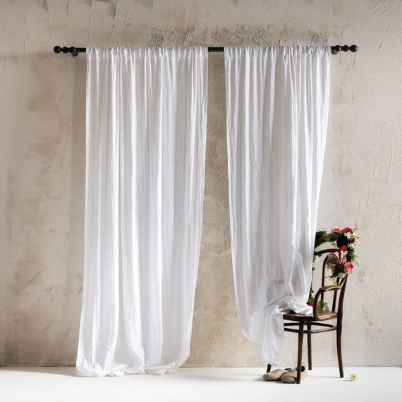 Natural Linen Curtains, Rod Pocket Curtains, Unlined Or Blackout Curtains,  Lined Linen Drapes, Custom Window Curtains, Linen Window Curtains Regarding Rod Pocket Cotton Linen Blend Solid Color Flax Kitchen Curtains (View 23 of 30)
