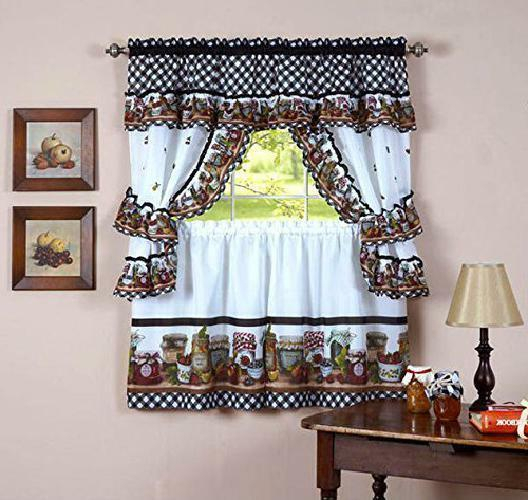 Naturally Home Mason Jars Kitchen Curtai With Regard To Embroidered Chef Black 5 Piece Kitchen Curtain Sets (View 26 of 42)