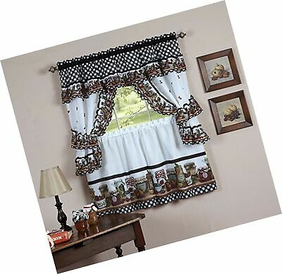 Naturally Home Mason Jars Kitchen Curtain Cottage Set, Tiers And Ruffled  Swag 787732538147 | Ebay Throughout Cottage Ivy Curtain Tiers (View 41 of 49)