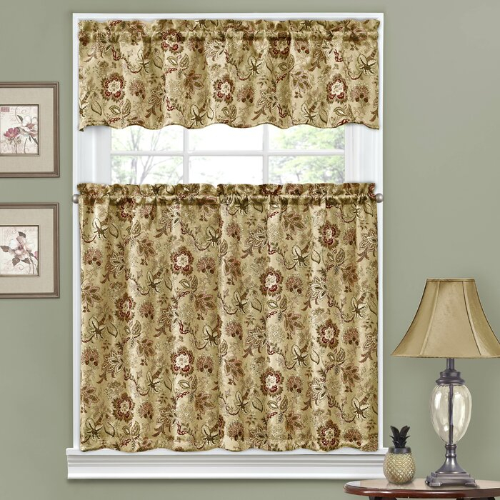 """Navarra Floral 52"""" Valance And Tier Set With Regard To Waverly Felicite Curtain Tiers (#12 of 45)"""