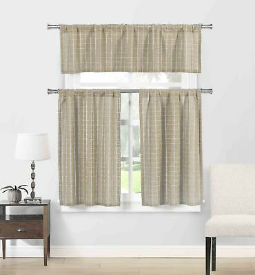 Navy 3 Pc Plaid Kitchen Curtain Set: 35% Cotton\1 Valance\2 Throughout Classic Navy Cotton Blend Buffalo Check Kitchen Curtain Sets (View 24 of 30)