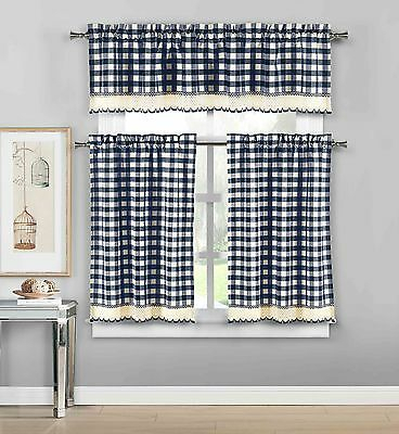 Navy 3 Pc Plaid Kitchen Curtain Set: 35% Cotton\1 Valance\2 With Regard To Classic Navy Cotton Blend Buffalo Check Kitchen Curtain Sets (View 25 of 30)
