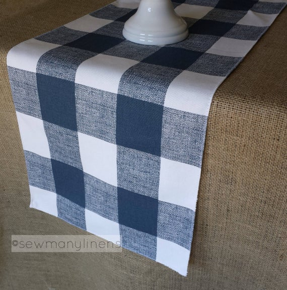 Navy Blue Plaid Table Runner Buffalo Check Table Linens Plaid Country  Farmhouse Runner Kitchen Dining Room Home Decor Pertaining To Classic Navy Cotton Blend Buffalo Check Kitchen Curtain Sets (View 26 of 30)