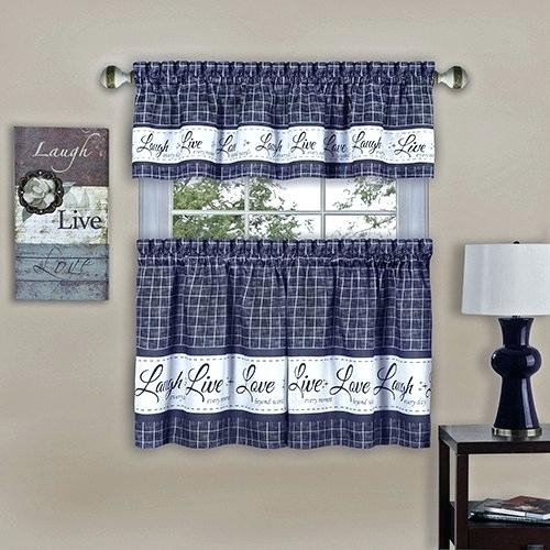 Navy Blue Tier Curtains – Sted Intended For Cottage Ivy Curtain Tiers (View 13 of 49)