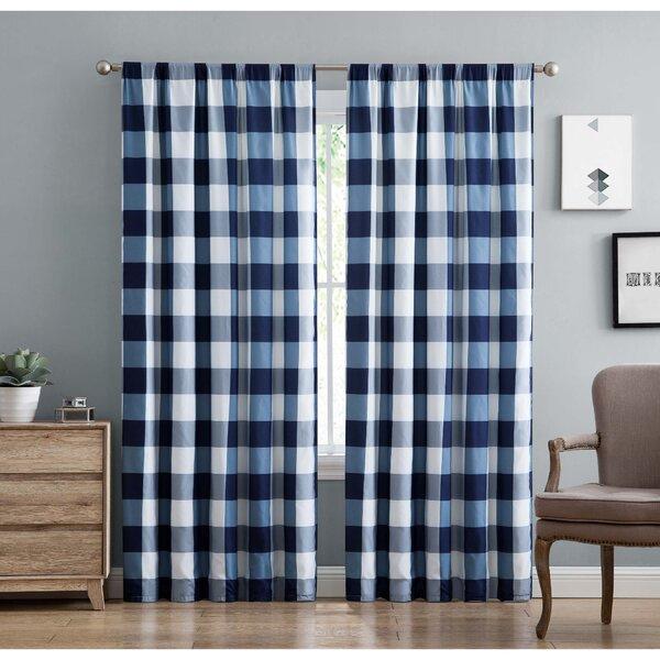 Navy Buffalo Plaid Curtains | Wayfair Regarding Burgundy Cotton Blend Classic Checkered Decorative Window Curtains (View 23 of 30)